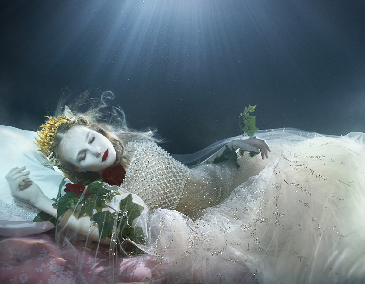 Sleeping Beauty, underwater womens fashion editorial for FT mag